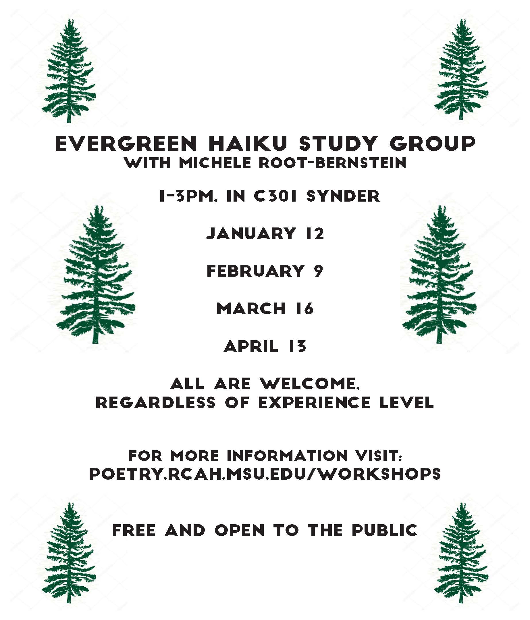 Evergreen Haiku poster. Lists dates. Click to download pdf for text.