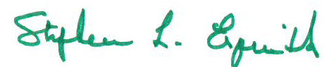 Dean Steve Esquith's signature in green