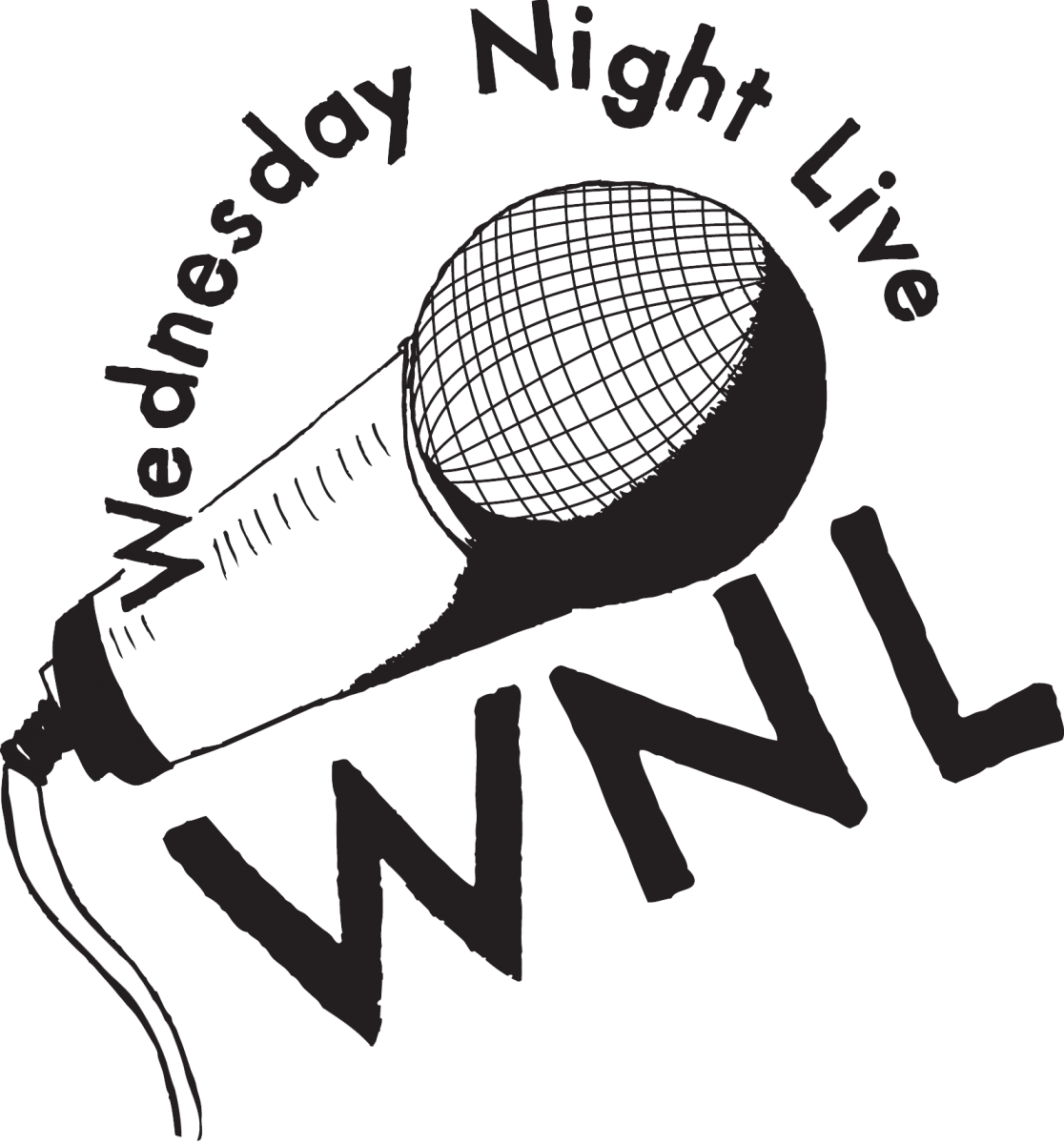 "Logo for Wednesday Night Live, features a microphone and the words ""Wednesday Night Live, WNL"""