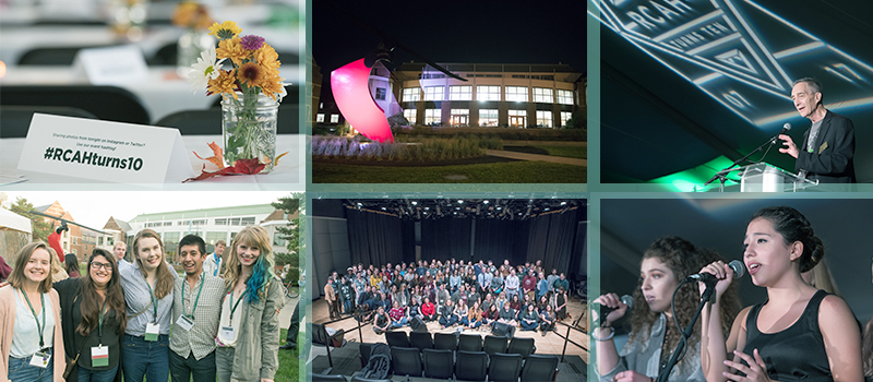 A collage of six images showing events from RCAH's tenth anniversary.