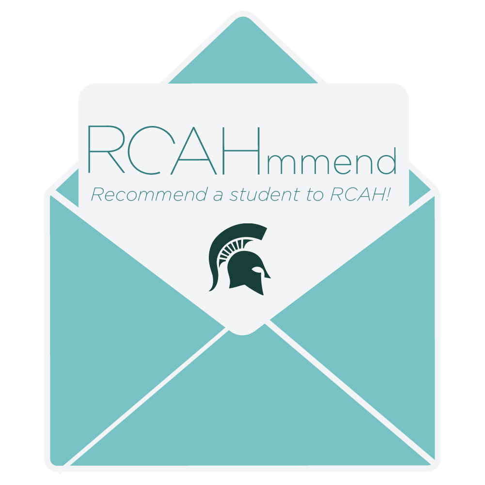"Image is illustration of an envelope opening to reveal a notecard that reads ""RCAHmmend! Recommend a student to RCAH!"""