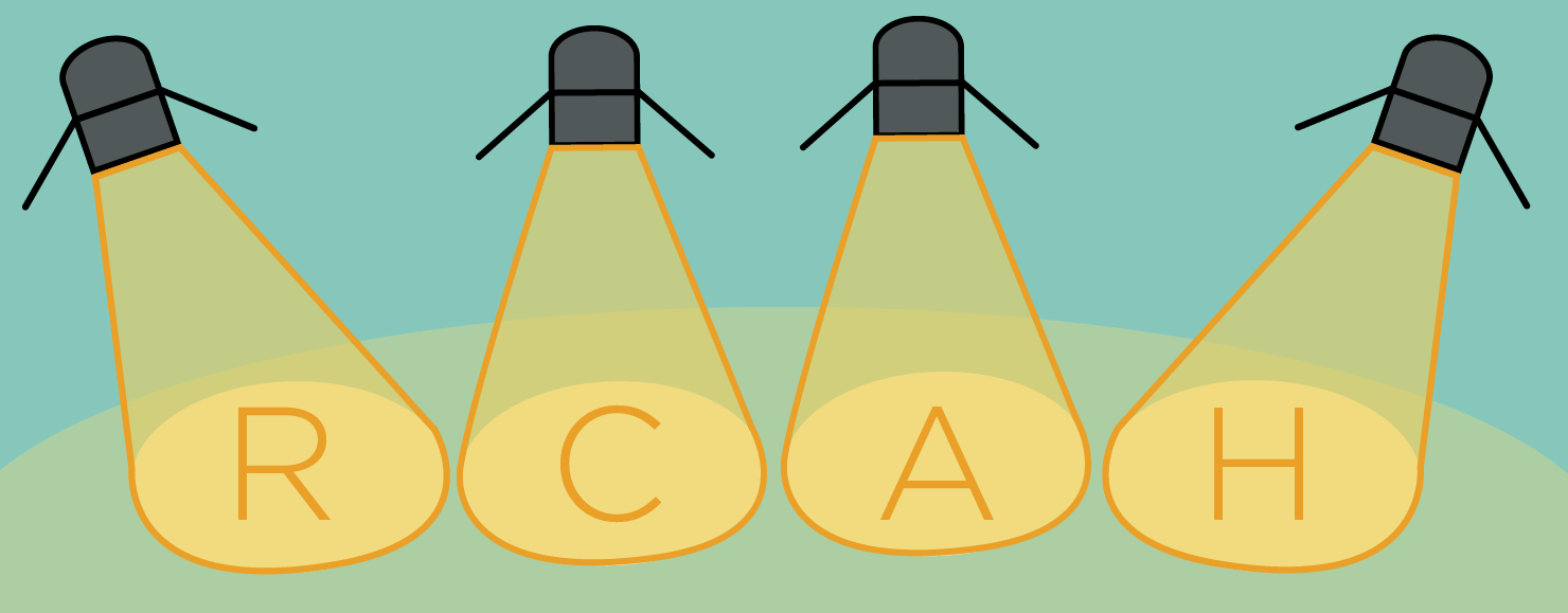 Vector artwork of spotlights, spell out RCAH